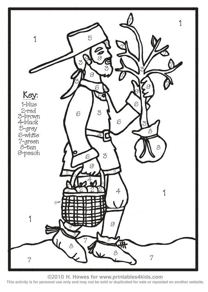 jonny appleseed coloring pages - photo#3