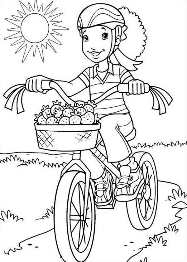 Holly Hobbie Bestfriend Carrie Riding Bike Coloring Pages: Holly ...