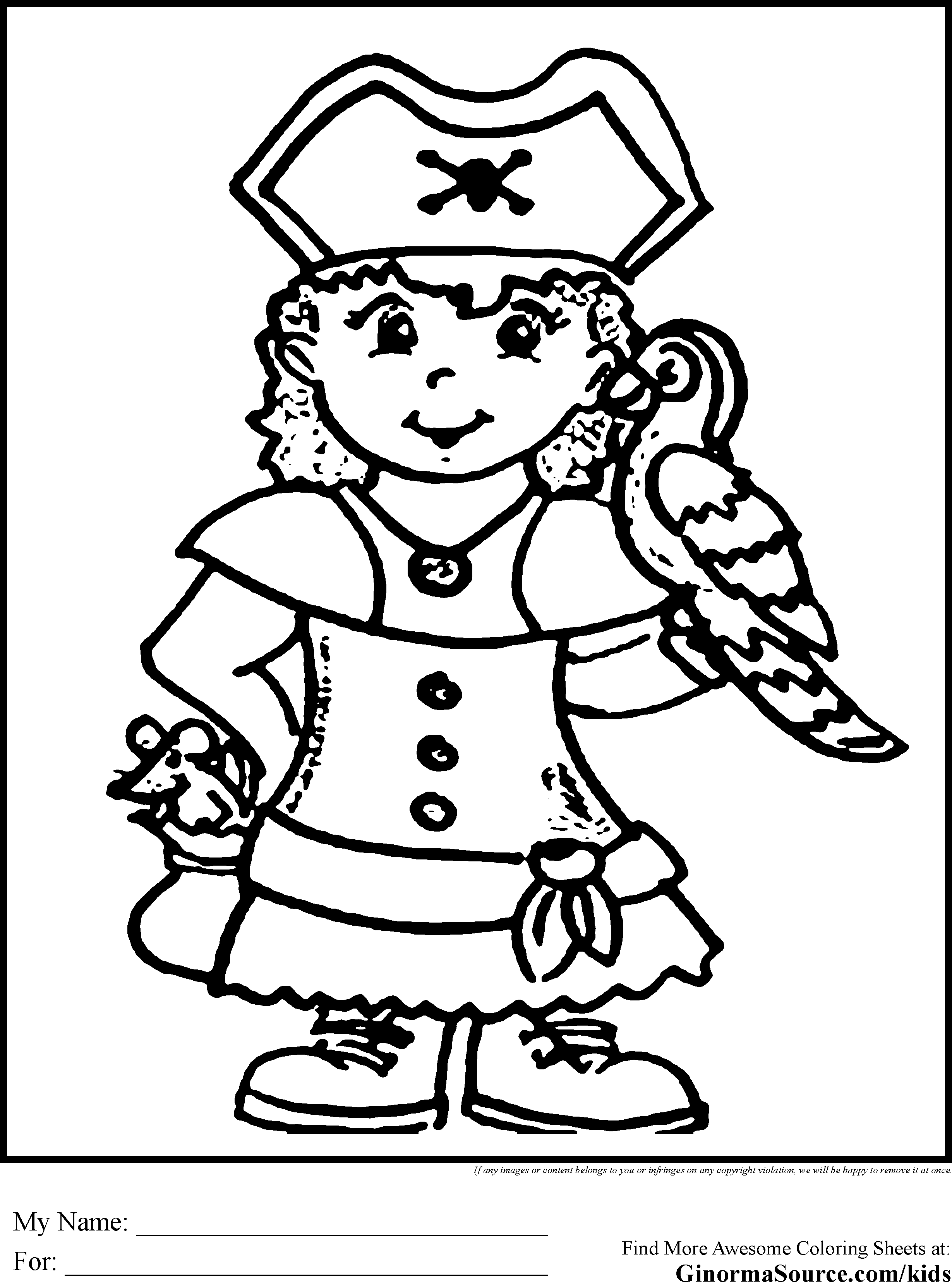 Coloring Pages Pirate Color Page girl pirate coloring page az pages ginormasource kids