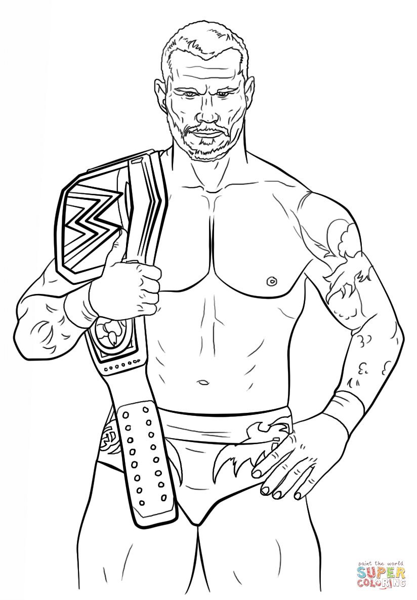 Wwe coloring pages to print - Randy Orton Coloring Page Free Printable Coloring Pages