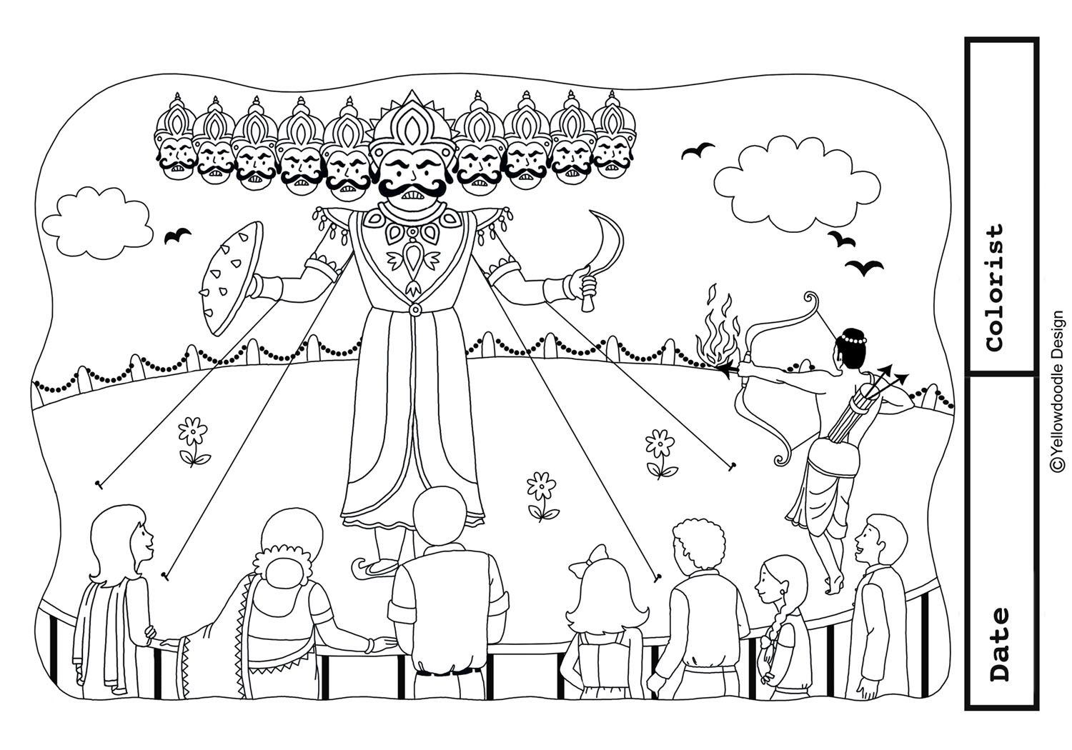 Happy Dussehra Drawings Sketch Coloring Page Coloring Home