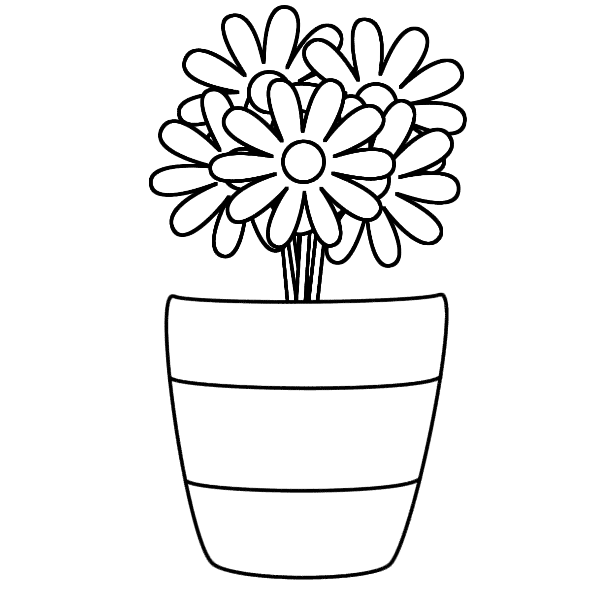 Flowers In A Vase With Stripes  Coloring Page Plants  Coloring
