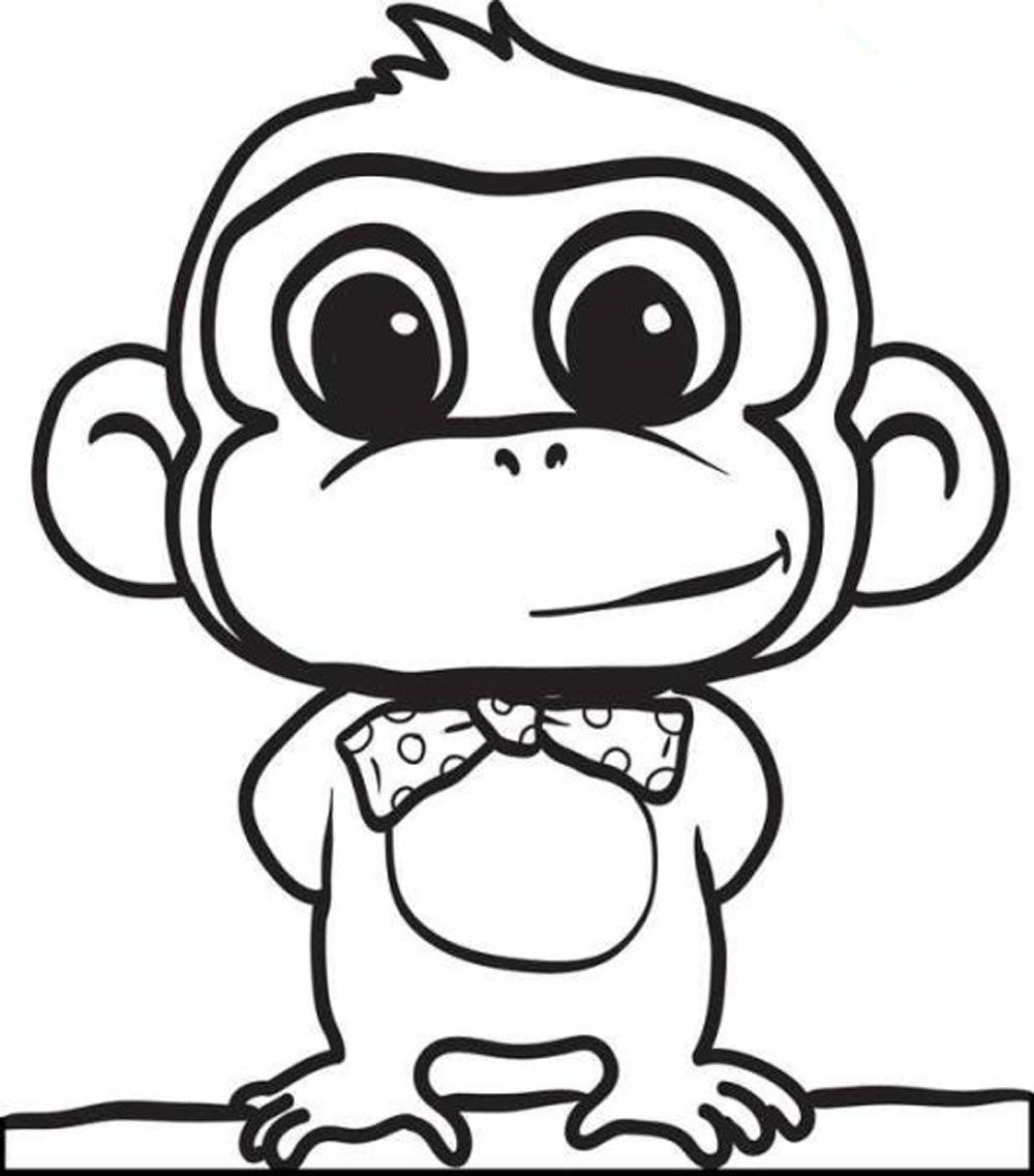 Cute Baby Monkey Coloring Pages Printables