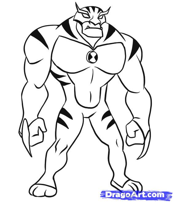 how to draw rath step by step ben 10 characters cartoons draw