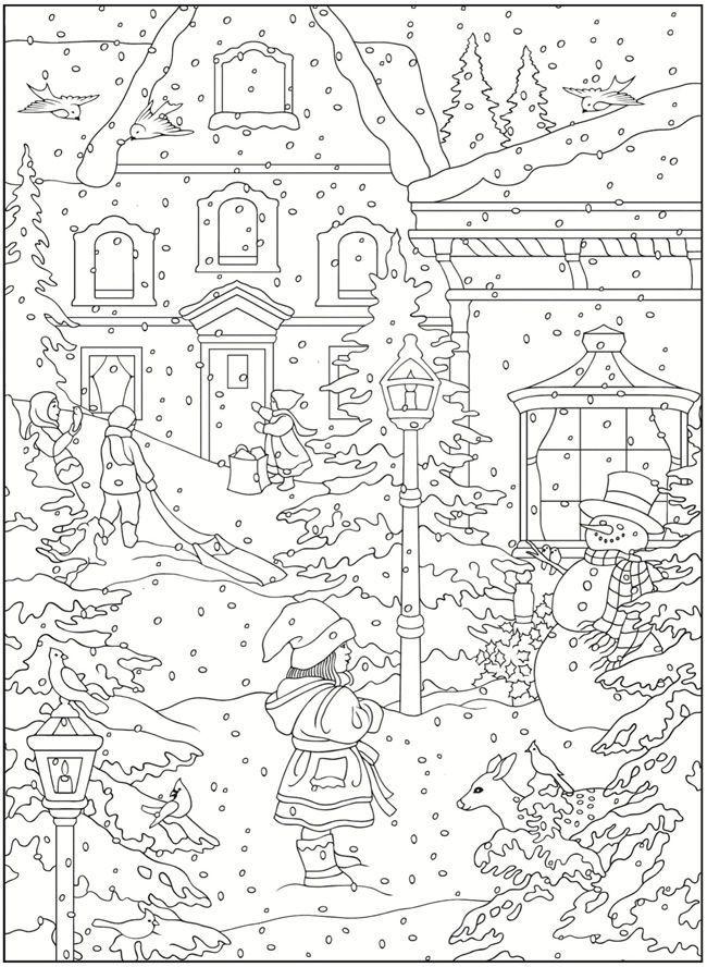 Printable Winter Scene Coloring