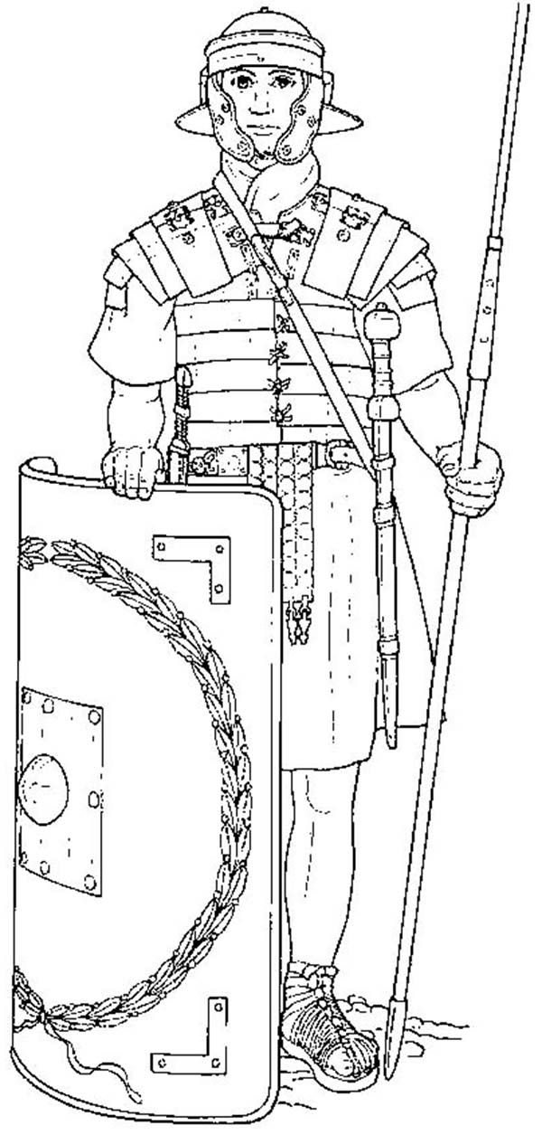 An Elite Roman Soldier And His Equipments Coloring Page  Coloring