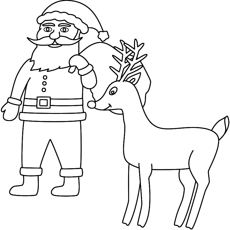Coloring Pages Santa & Rudolph - Coloring Home