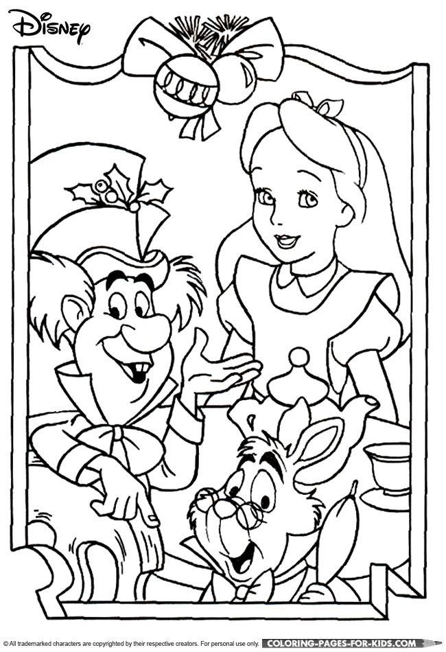 Alice In Wonderland Coloring Pages Pdf : Disney christmas coloring page alice in wonderland