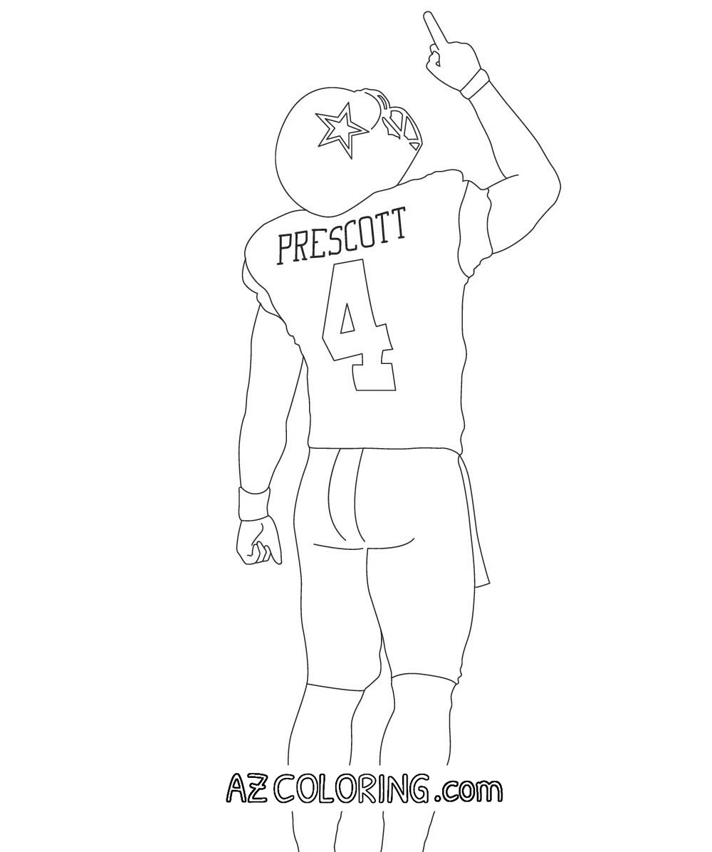 Dallas cowboys coloring pages for kids coloring home for Dak prescott coloring pages