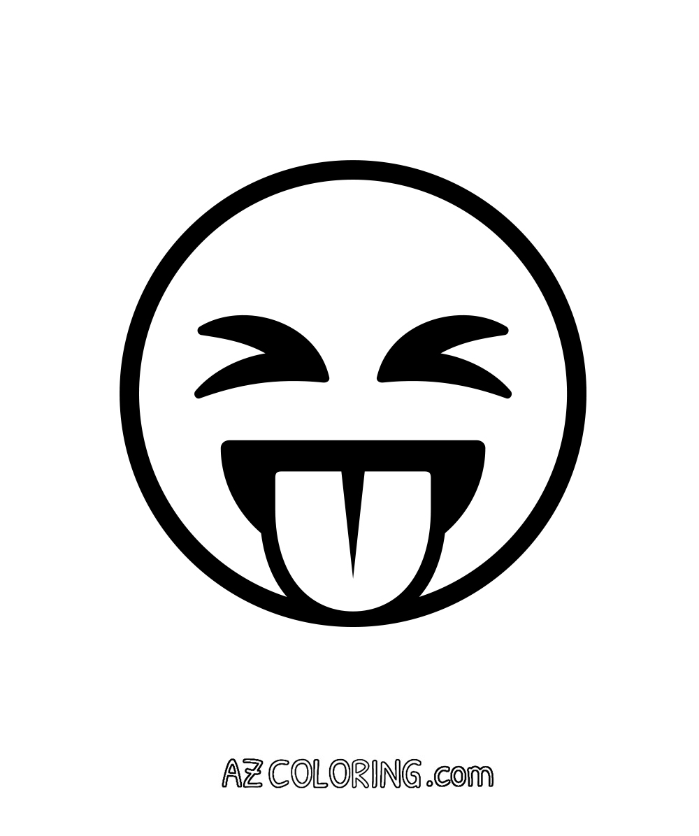 Face With Stuck-Out Tongue and Tightly-Closed Eyes Emoji Coloring Page