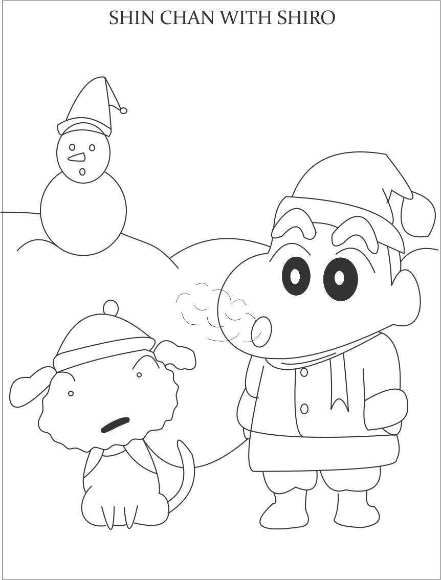 shin chan and snowman coloring page for kids coloring home