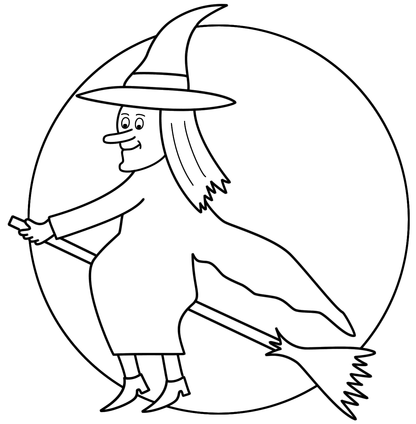 Witch On A Broom With The Moon