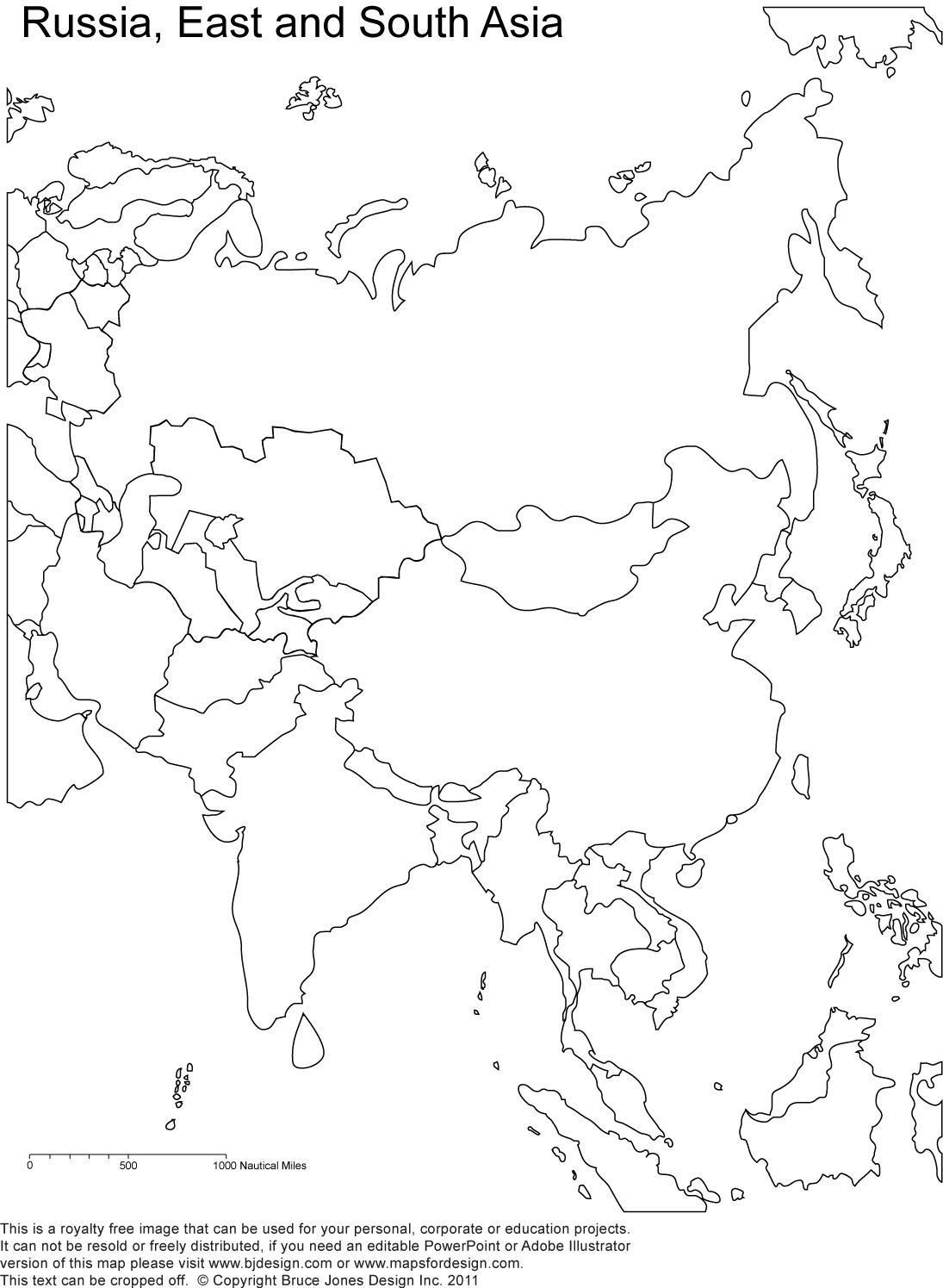 Printable Map Of Russia Coloring Home - Blank map of russia