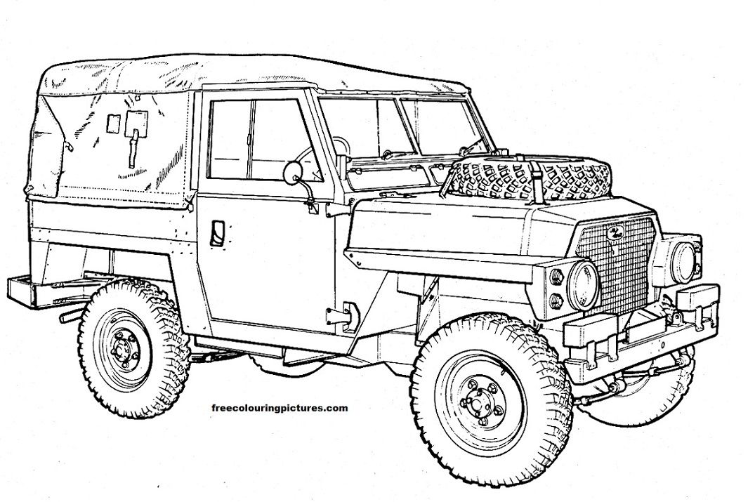 Free Colouring Pictures - Cars Land Rovers jeeps