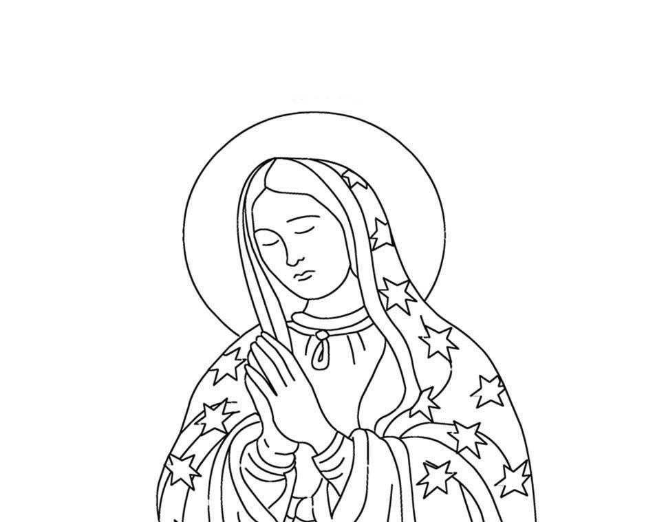Dibujos Para Colorear De La Virgen Guadalupe Sketch Coloring Page