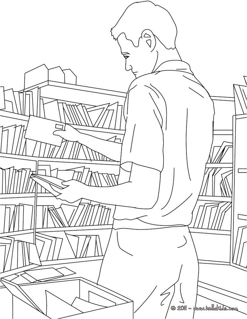 Postman coloring pages postman sorts mails in the post for Mailman coloring pages