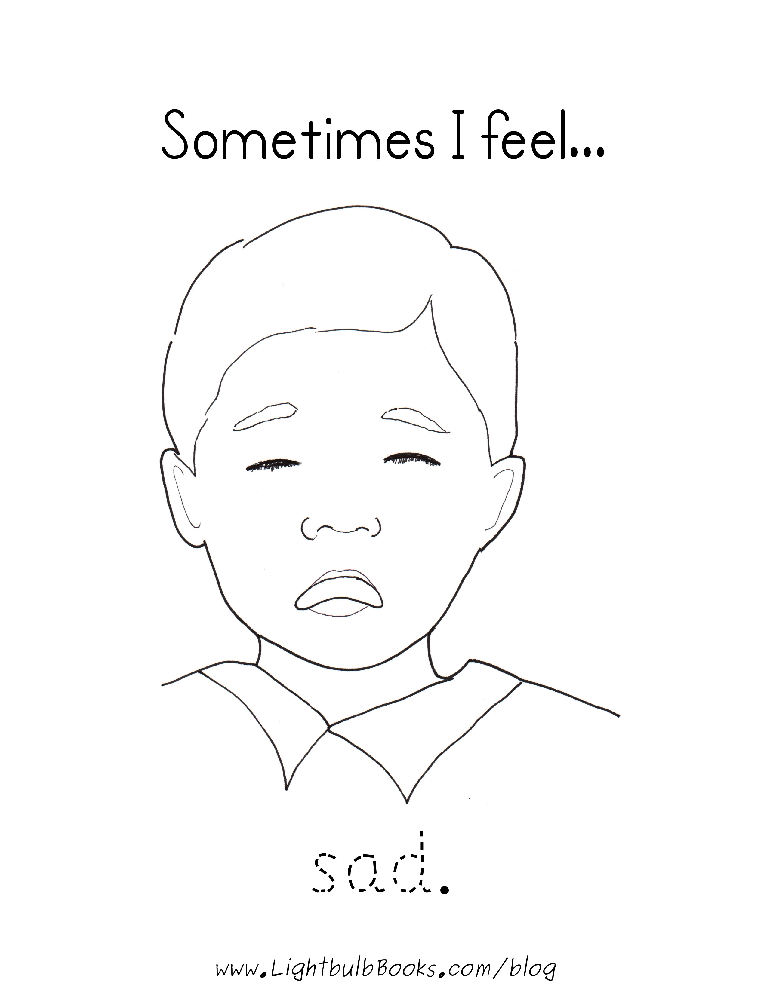 Sad   Feelings Coloring Pages