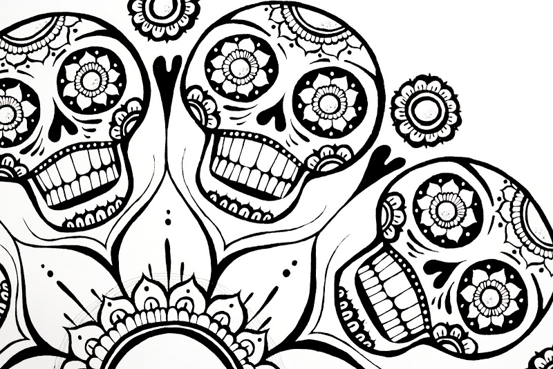 Sugar Skull Flower Coloring Page