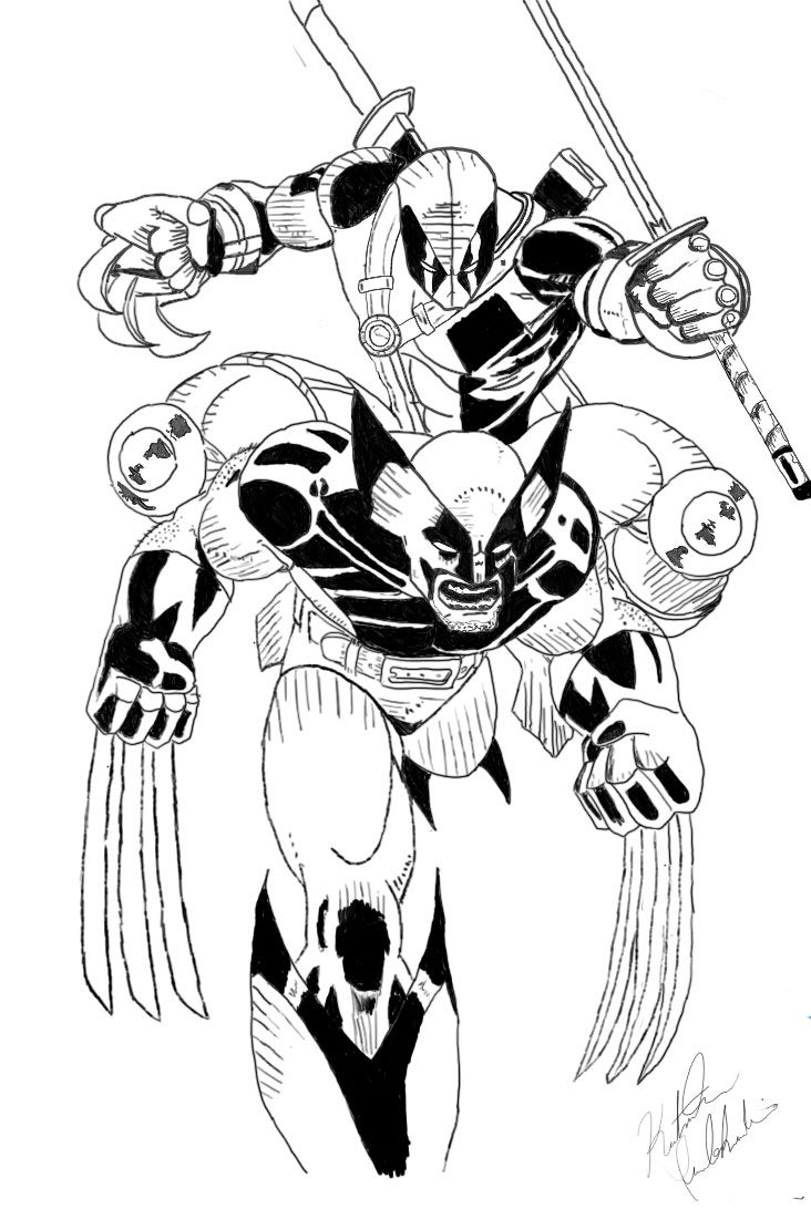 Wolverine coloring pages to print - Wolverine Vs Deadpool Drawing Coloring Pages
