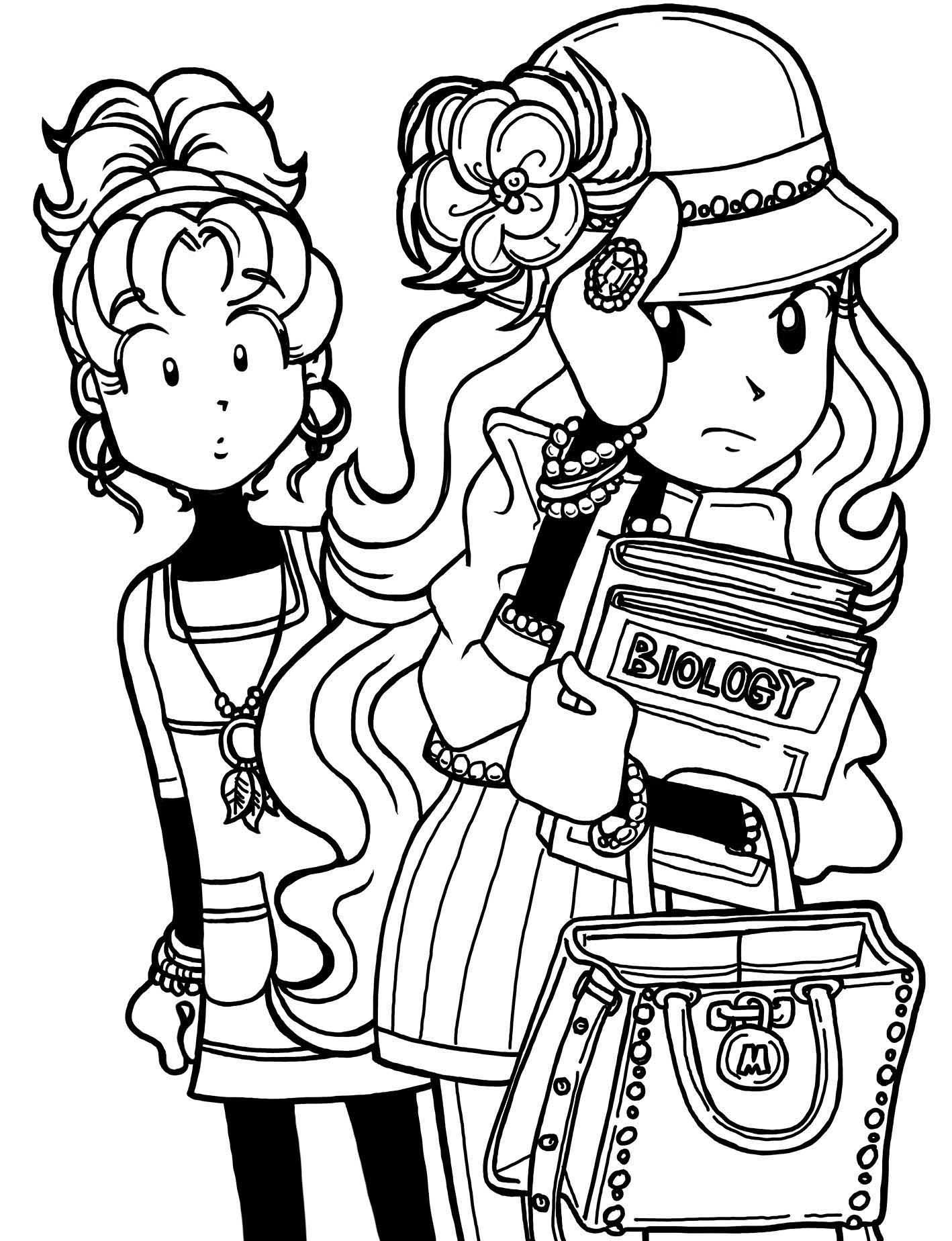 Nikki From Dork Diaries Free Colouring Pages