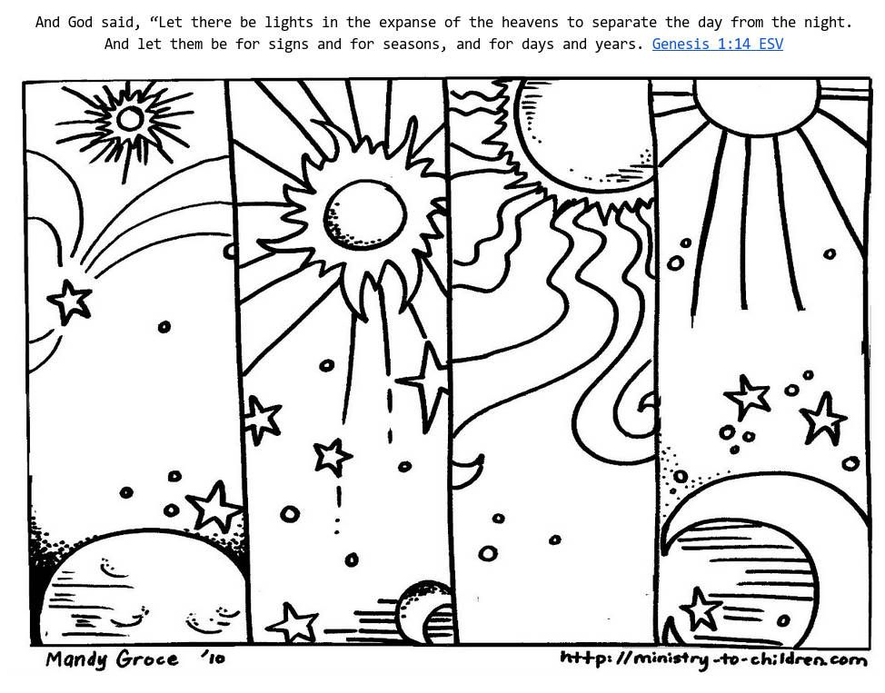 Genesis 1:14 Coloring Sheets – God Made Day & Night