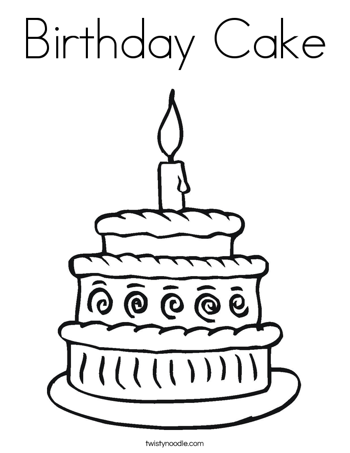 Happy Birthday Cake Coloring Pages - Coloring Home
