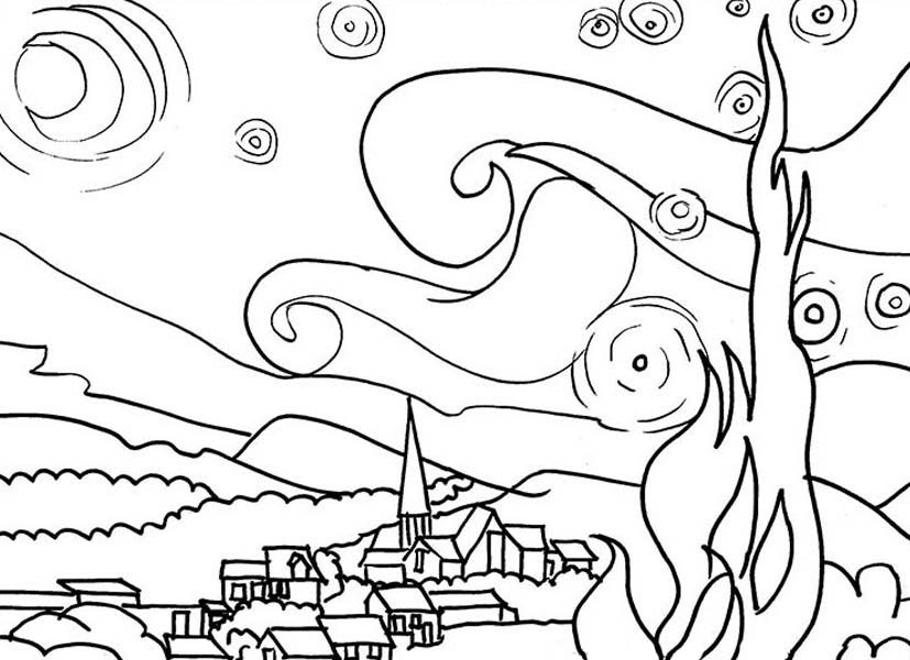 the starry night coloring page coloring home. Black Bedroom Furniture Sets. Home Design Ideas