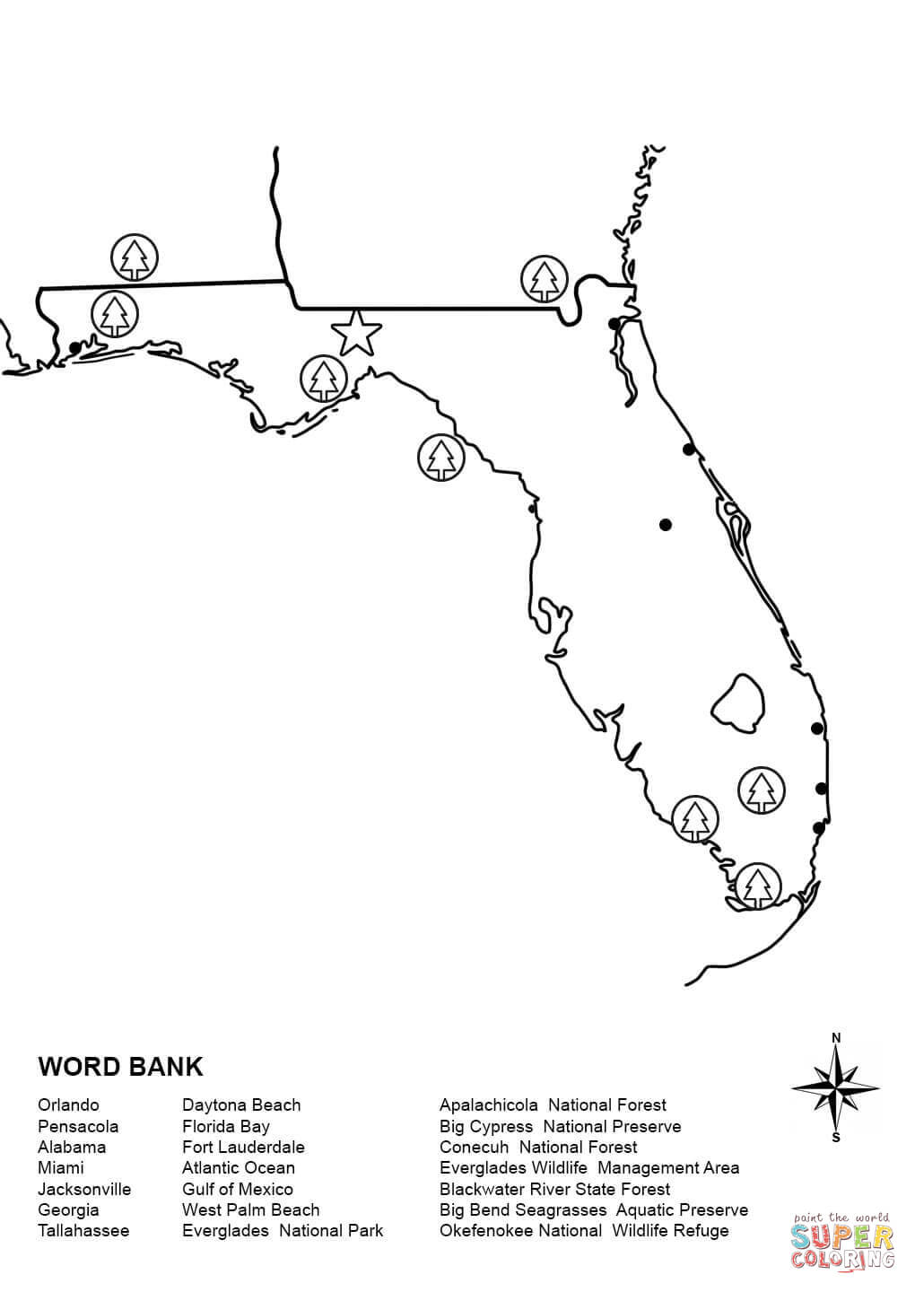 Florida Map Worksheet Coloring Page | Free Printable Coloring Pages ...