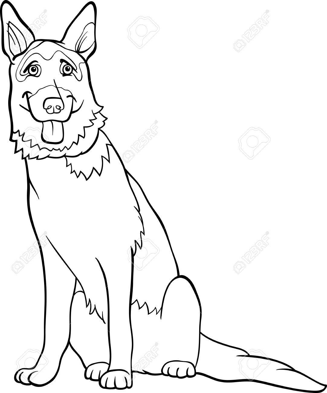 Раскраска собаки овчарки