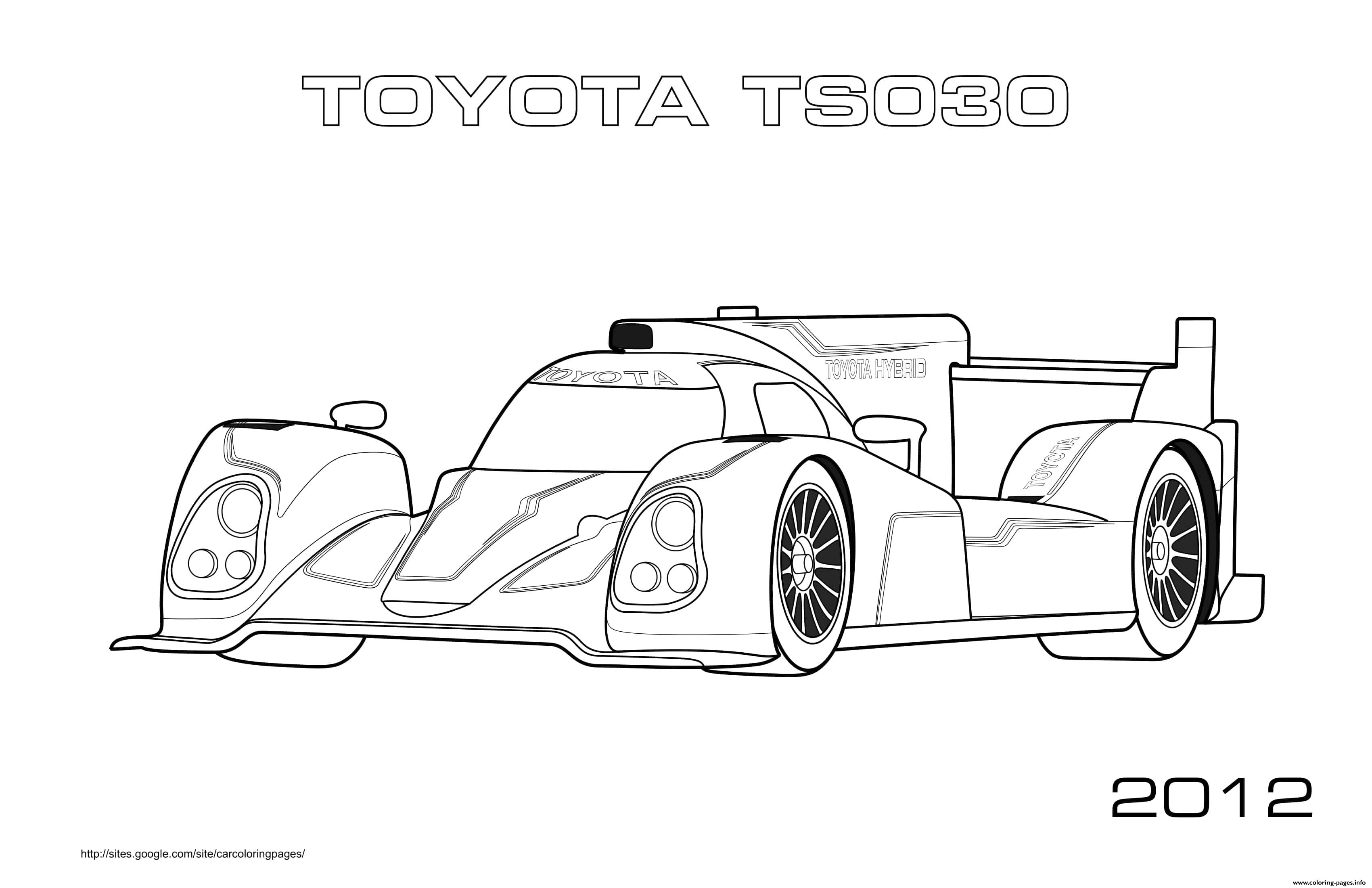F1 Toyota Ts030 2012 Coloring Pages Printable