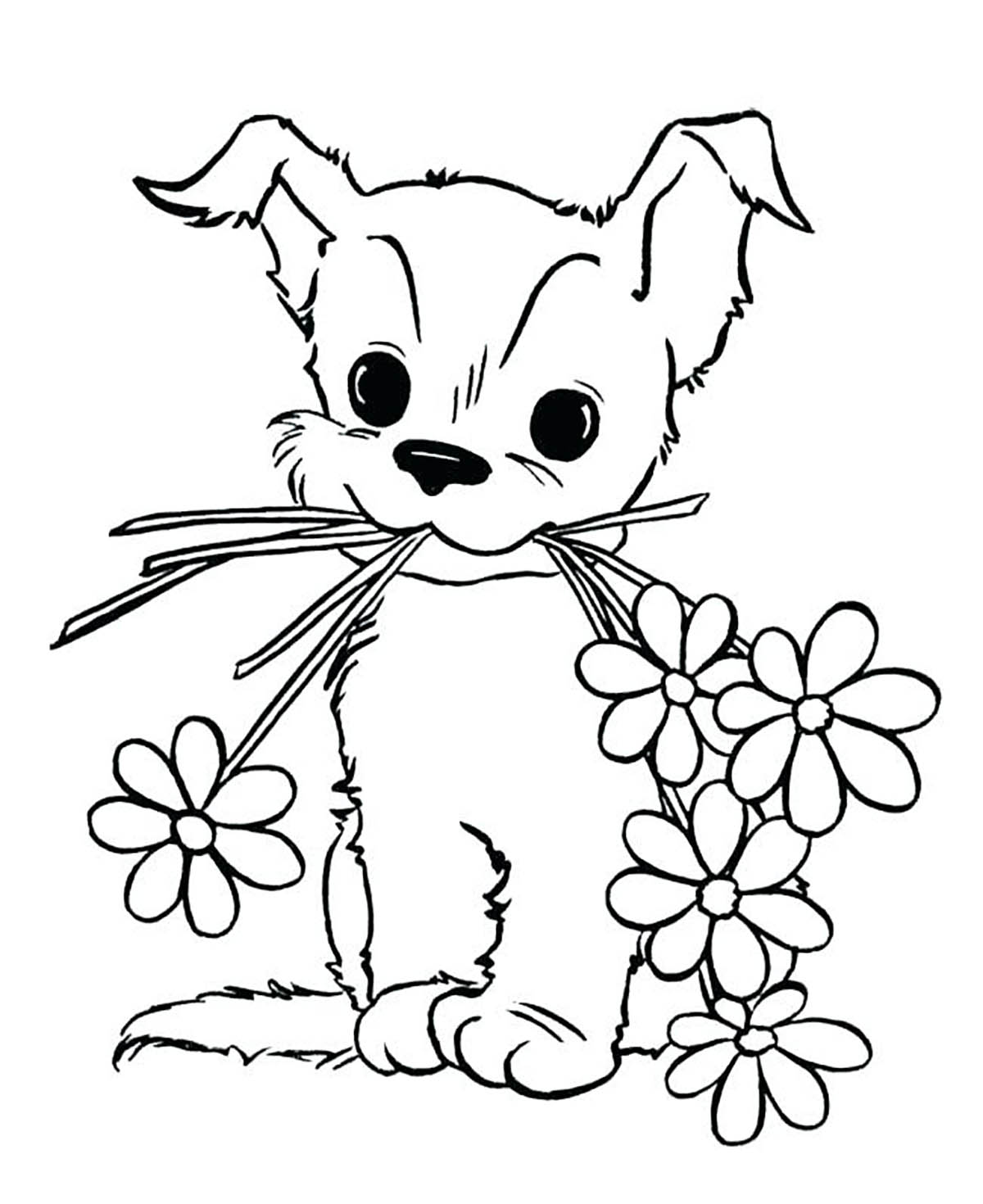 Dogs to color for kids : dog with flowers - Dogs Kids Coloring Pages