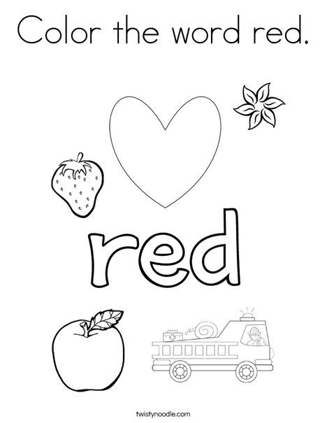 Color the word red Coloring Page | Color red activities, Color words  printable, Preschool colors