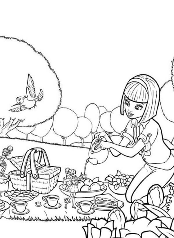 vanessa going picnic with barbie thumbelina coloring pages best