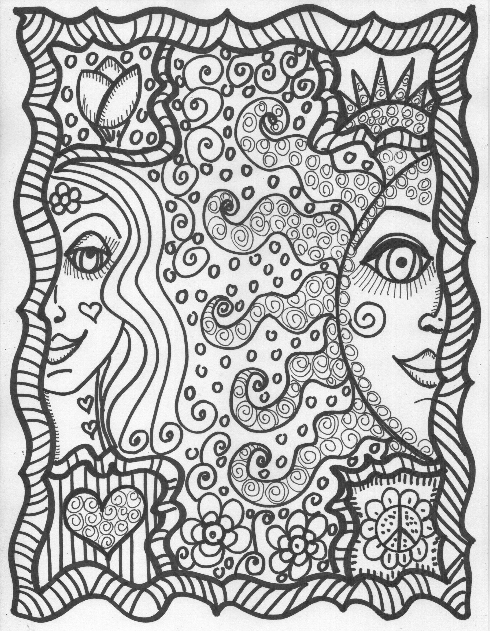 It is a picture of Agile Coloring Pages Hippie
