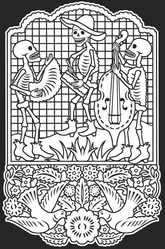 El dia de los muertos skulls coloring pages coloring home for El dia de los muertos coloring pages