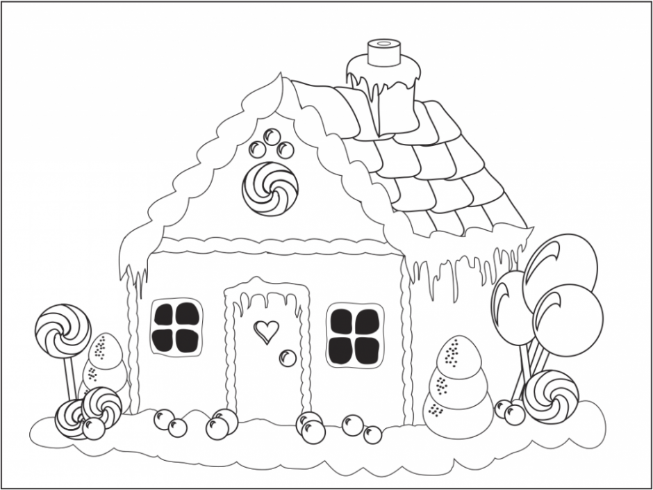 Gingerbread Man House Coloring Pages For Kids And For Adults