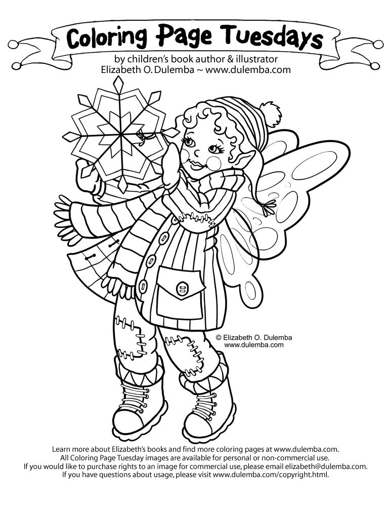 dulemba: Coloring Page Tuesdays - Winter Fairy