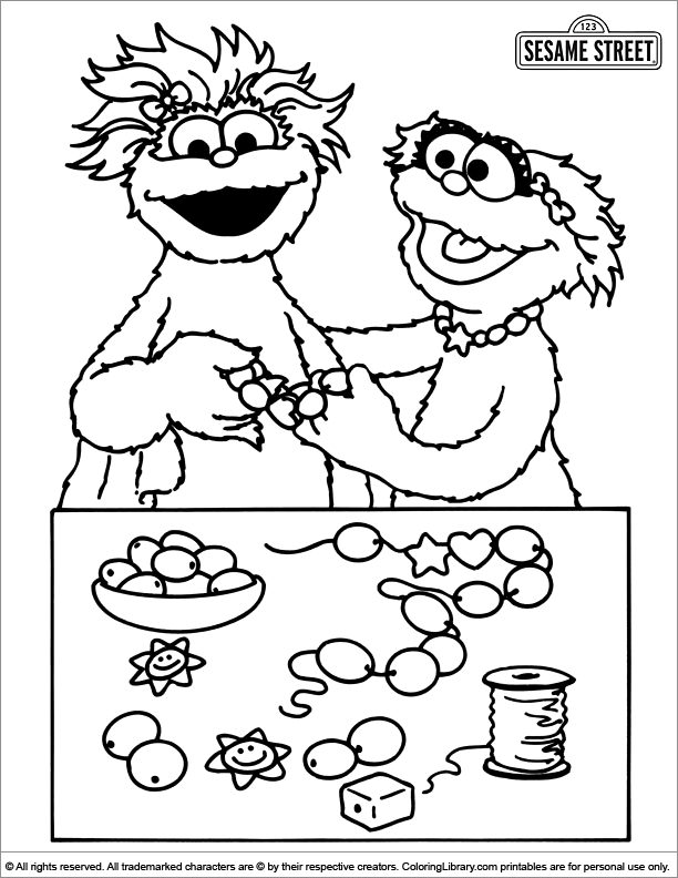 Sesame street color coloring home for Sesame street color pages