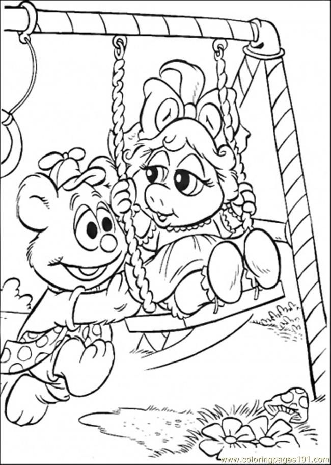 Coloring Pages The Baby Swings (Cartoons > Muppet Babies) - free