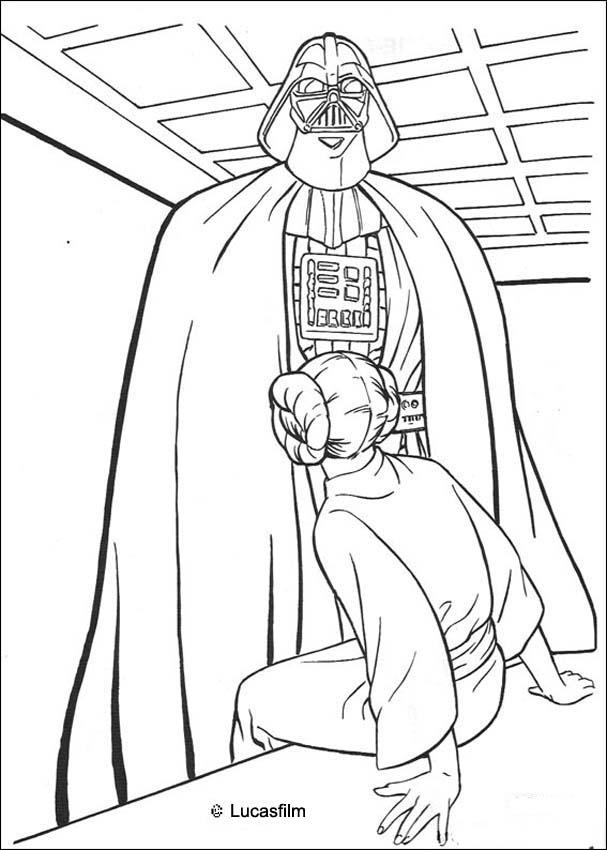 DARTH VADER coloring pages - Darth Vader and princess Leia