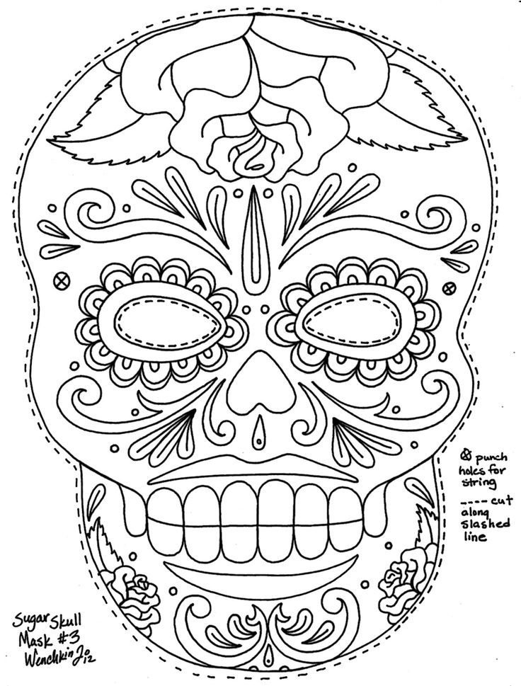 Day of the dead skull coloring pages coloring home for Day of the dead skull mask template