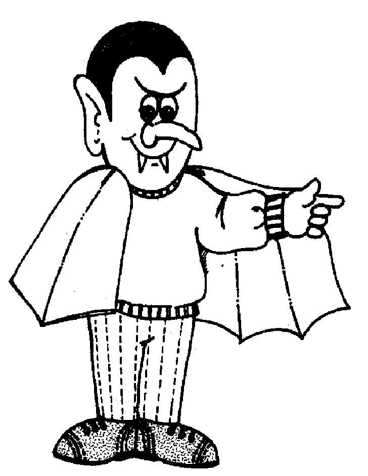 Dracula in Cape of Halloween Coloring Pages – Free Halloween