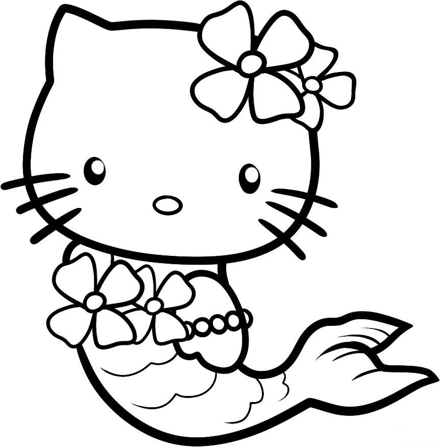 Download Cute Hello Kitty Coloring Pages As A Mermaid Or Print