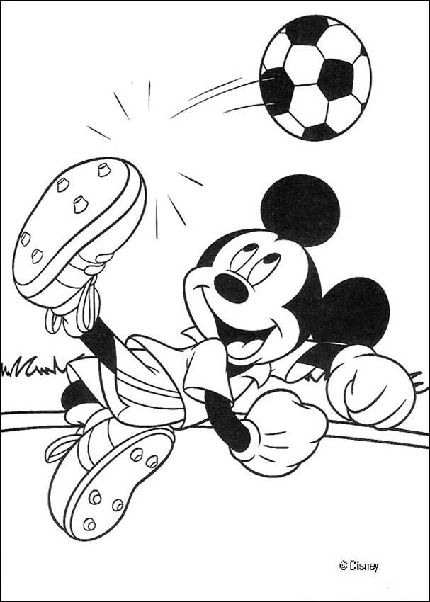 Mickey Mouse coloring pages - Mickey Mouse is playing football