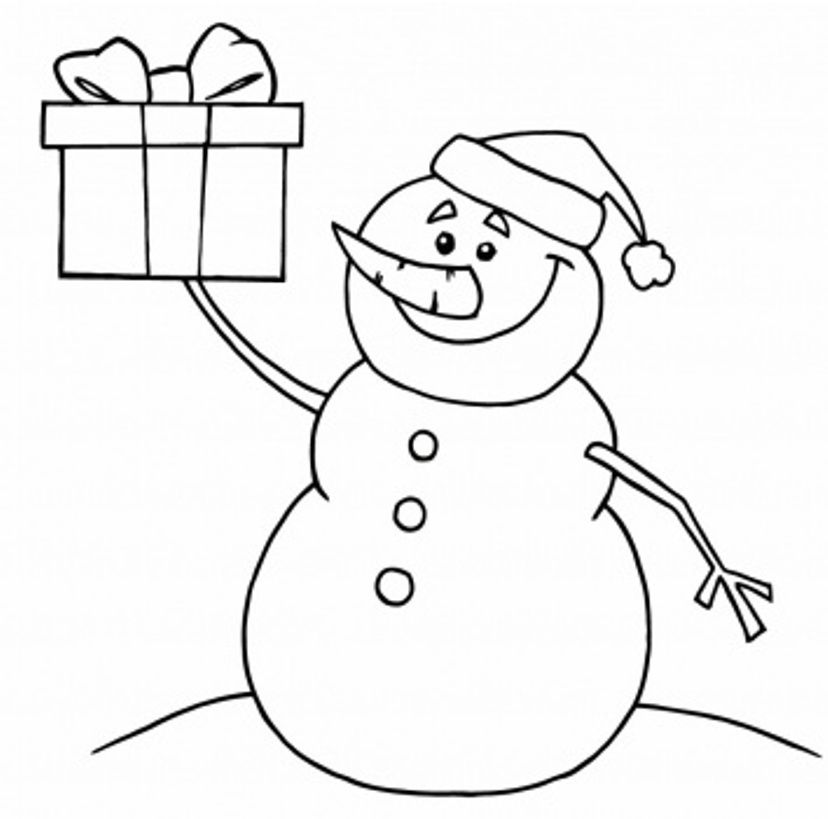 Download Printable Coloring Pages Christmas Snowman And Present Or