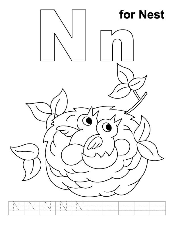 N for nest coloring page with handwriting practice | Download Free