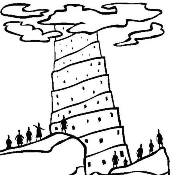 Amazing Tower Of Babel Coloring Page Free Download | Kids Coloring ...