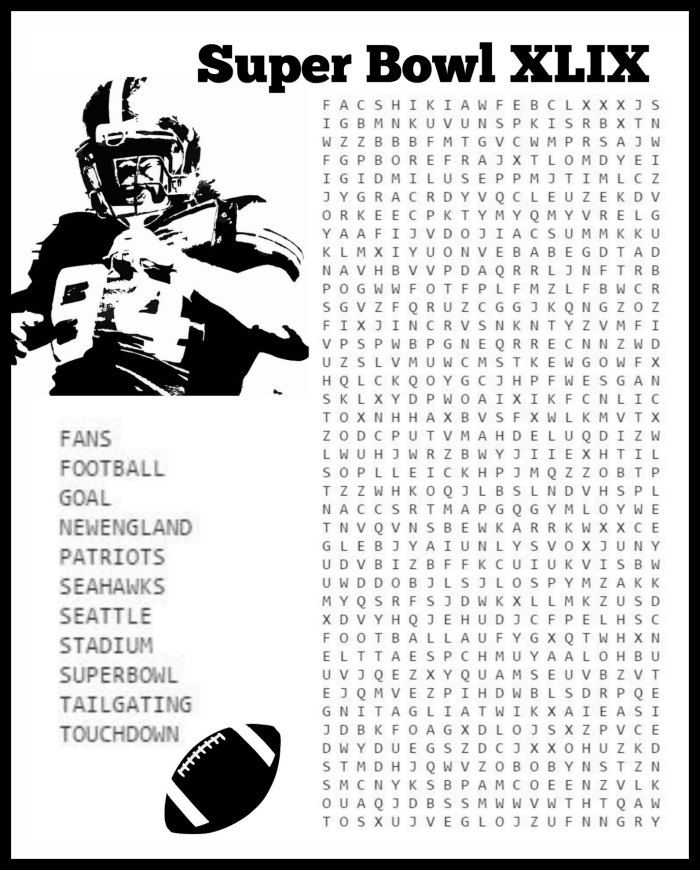 Free Super Bowl Coloring Pages and Puzzle for Game Day 2015 ...