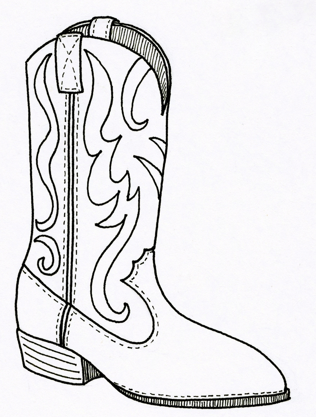 cowboy boots coloring pages free - photo#2