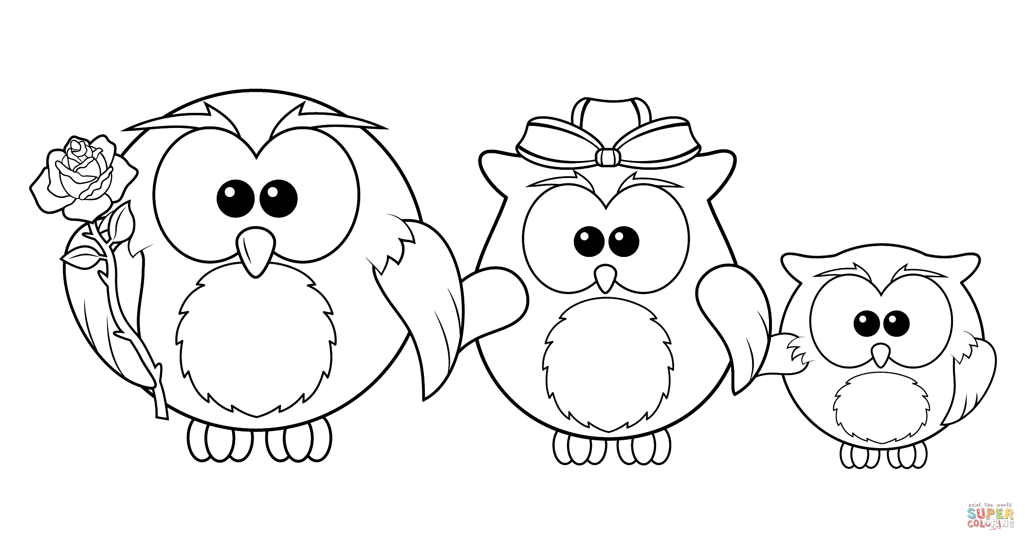Owl coloring pages free - Owl Family Coloring Page Free Printable Coloring Pages